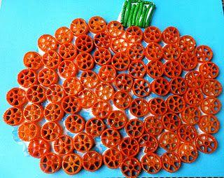 Colored & Glittered Pasta Pumpkin Craft