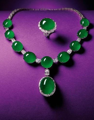 Magnificent Natural Jadeite and Diamond Pendent Necklace; and Matching Ring...
