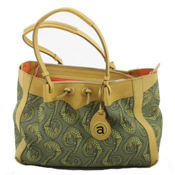 Ardmore Ceramics Fabric and Leather Handbags: Croco River Green