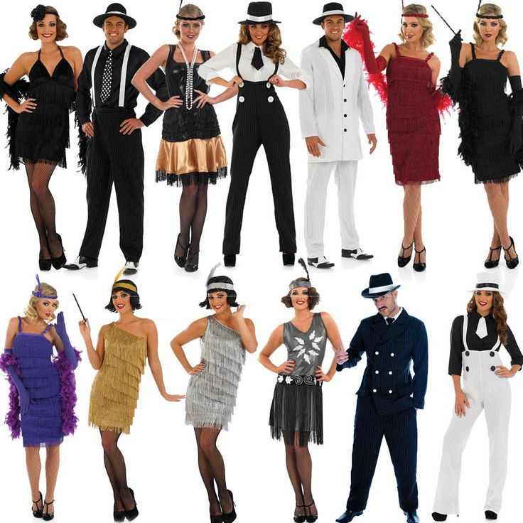 20s Fancy Dress - Mens Ladies 1920s Gangster Costume / Womens Flapper Dress