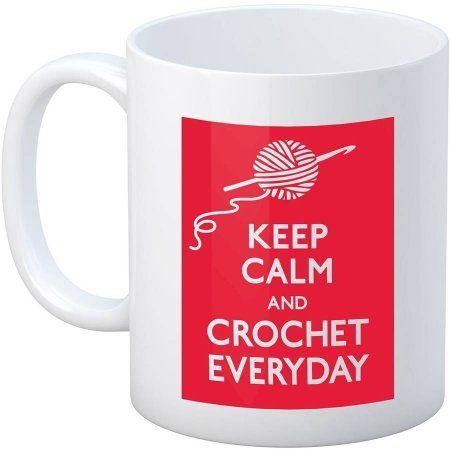 Crochet Happy Keep Calm Mug 11oz-Crochet, Multicolor