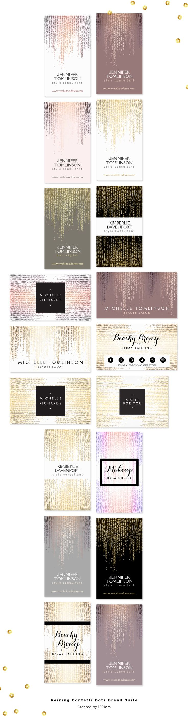 A beautiful tonal motif of cascading confetti dots creates an eye-catching pattern on this stylish suite of brand materials designed by 1201AM. Perfect for stylists, beauty professionals, makeup artists, event planners, interior designers, artists and more. Available to personalize on business cards and office stationery in several unique color variations. ♥ Pinnable image courtesy @ohsoprettypaper