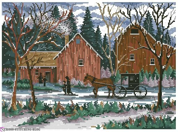 dimensions cross stitch patterns free | dimension snowy sunday cross stitch