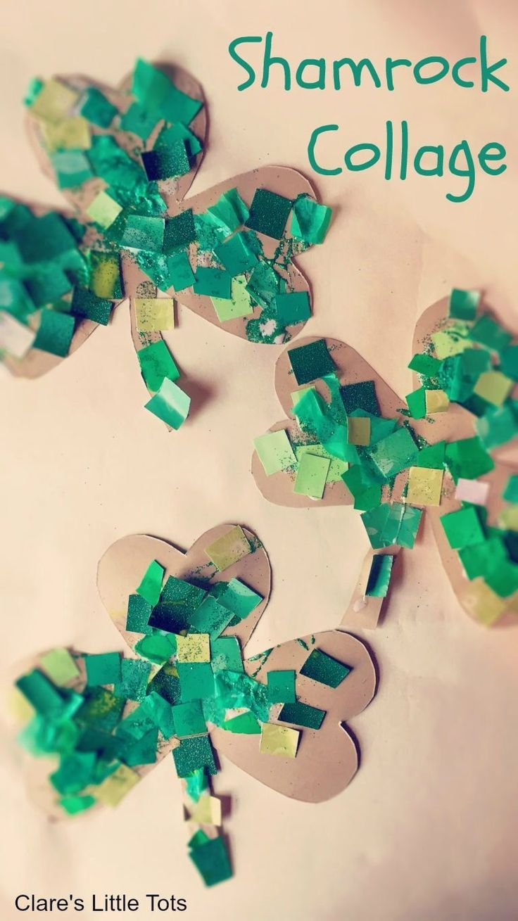 Shamrock Collage St Patricks Day Craft For Toddlers