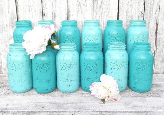 Shabby Chic Mason Gläser für Hochzeit-Dekor, Vasen, Herzstück in türkis und Aqua, halbe Gallone Mason Gläser
