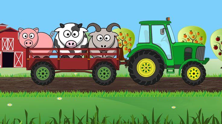 Мультфильм про Машинки   Собираем силуэт  Трактор и Животные  Развивающи...