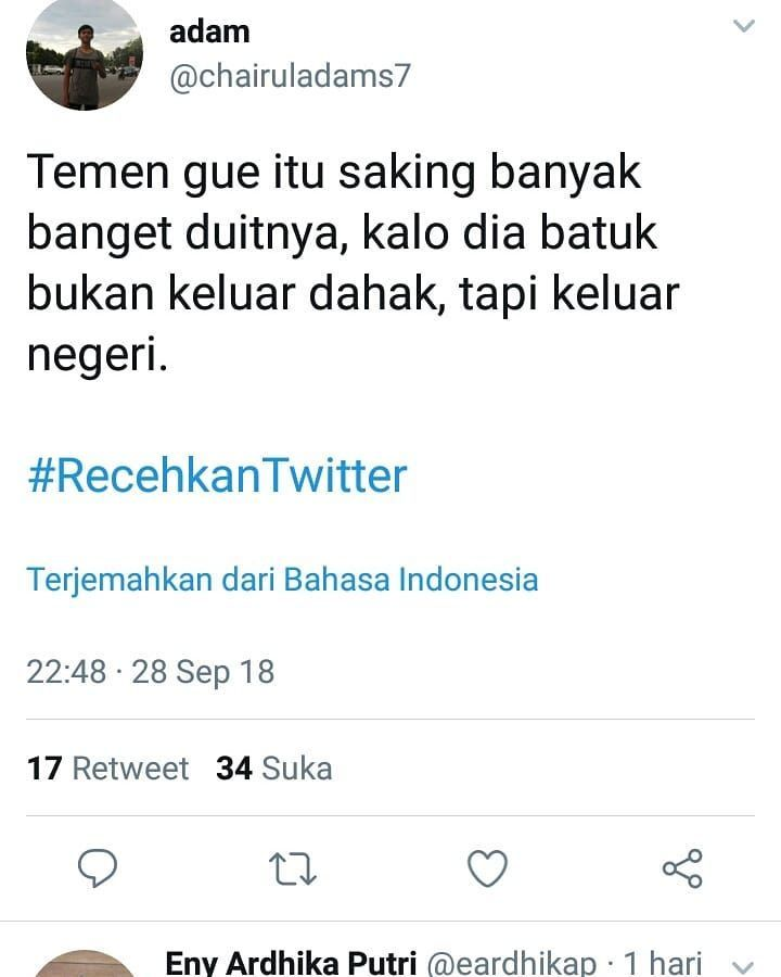 Funny Tweets Twit Recehan Di Instagram Kaya Sangad V