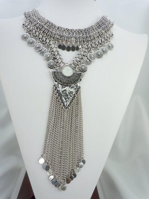 Plata gitanos collar collar de Boho Turco por Saundrastreasures
