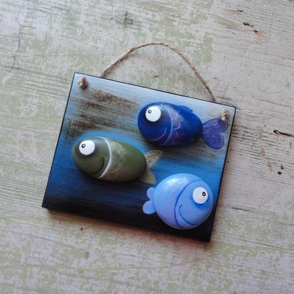 Cute idea - Stained wooden hang tag with painted pebbles
