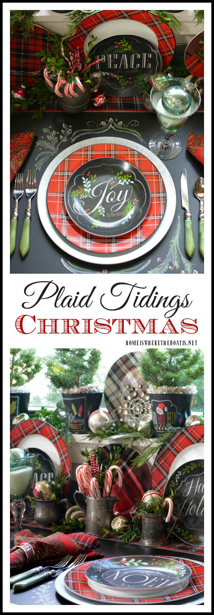 Plaid Tidings Christmas Table with fresh greenery and vintage ornaments | homeiswheretheboatis.net #tartan #pottingshed