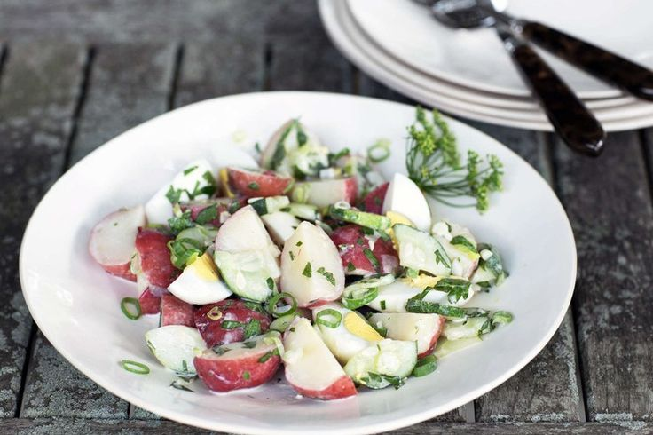 Baby Potato Salad with Soft Boiled Eggs by Giada de Laurentiis | A summertime favorite, this potato salad has just enough mayonnaise to pull together everything. Make the salad a day ahead to let the flavors settle and to get maximum health benefits.