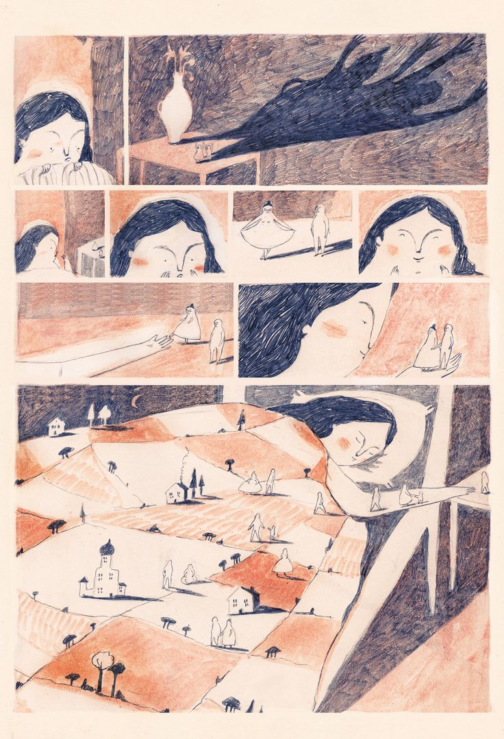 melissa castrillon 'Through the night' is a two page mini graphic story for the children magazine 'Loaf', soon to have its first publication in all its illustrative glory! The story was inspired by the surreal images i produced for my recent exhibition outlines, which depicts surreal landscapes, tiny people and a dream like imagery.