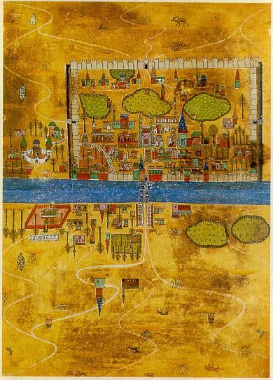 Matrakçi's plan of Baghdad showing the city plan with its great walls, buildings and streets (Topkapi collection). Reproduced on the website of Bilkent University.