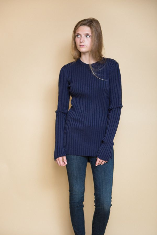 Long Sleeve Ribbed Sweater / Navy | Products | Pinterest | Products
