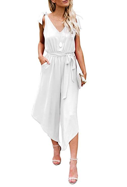 2b950140162 BELONGSCI Women Outfit Sleeveless Shoulder Bandage Waistband Sexy V-Neck  Wide Leg Long Jumpsuit with Belt (White