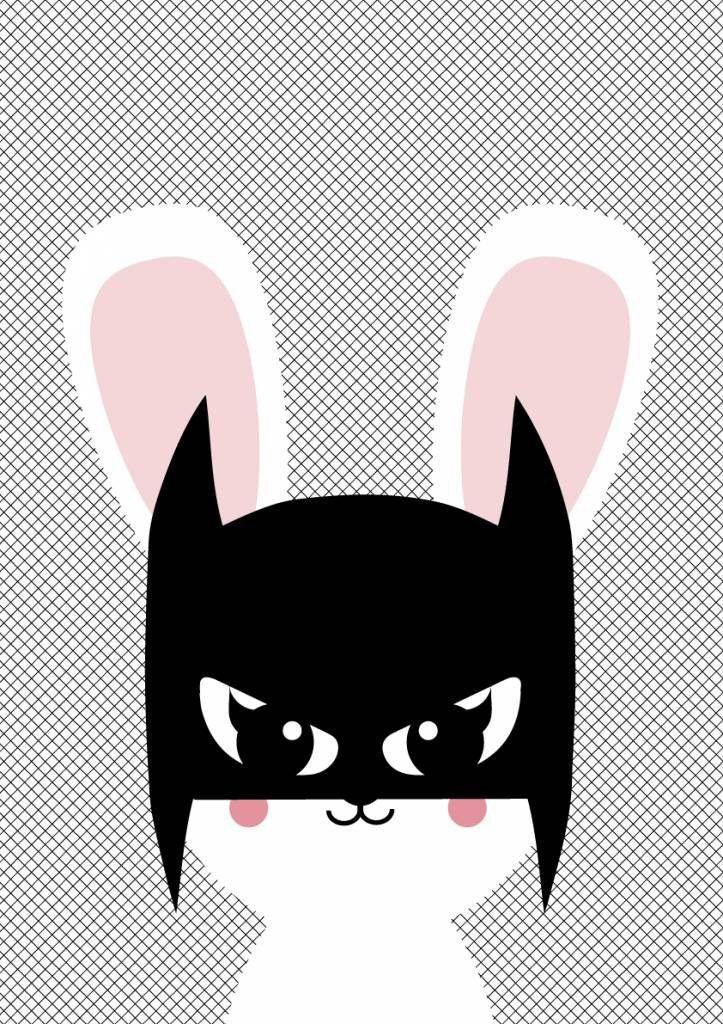 poster A3 Batbunny - Poster met konijn Poster batbunny staat in elke hippe kinderkamer voor een meisje of een jongen. Ook leuk om kado te doen of om zelf te gebruiken! Zo creëer je een nieuwe look in niet veel tijd en met weinig geld. * Merk: Studio Inktvis * Afmetingen:42 x 29.7 cm Maat: onesize