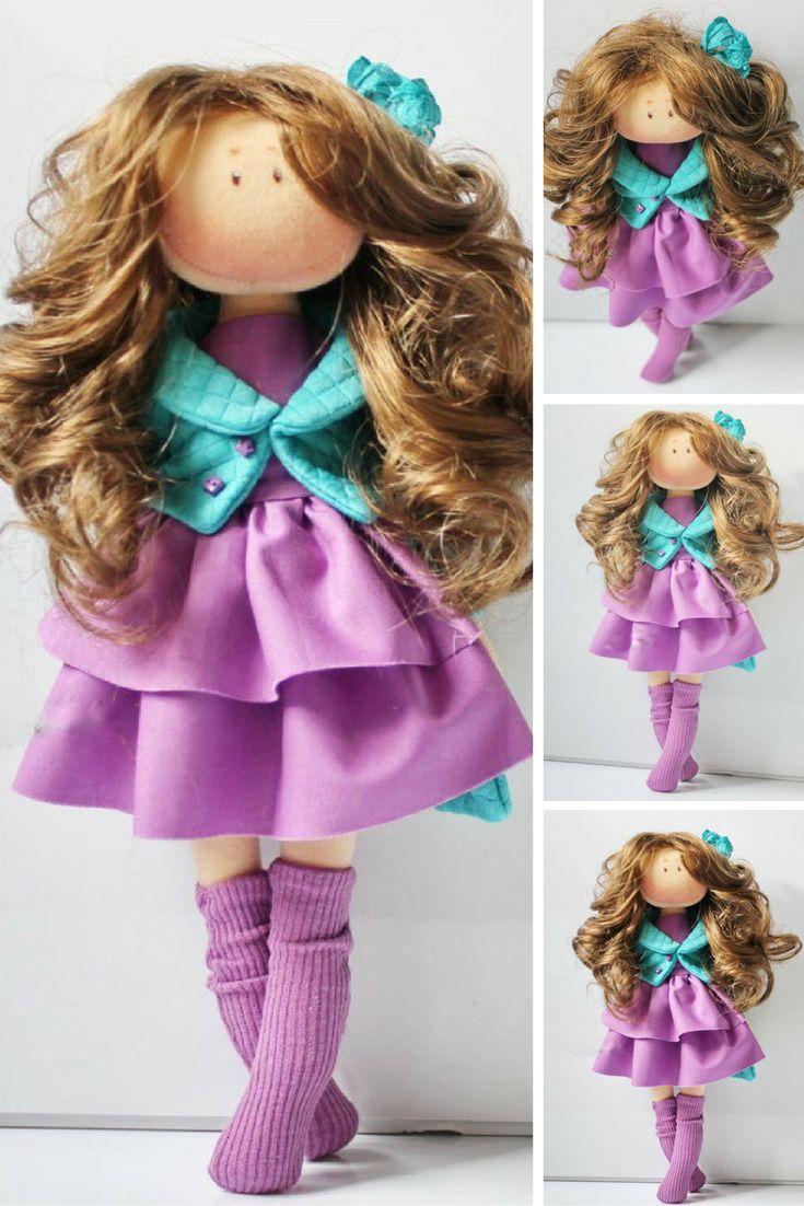 Fabric doll Handmade doll Tilda doll Interior doll Soft doll Textile doll Cloth doll Purple doll Decor doll Rag doll Baby doll by Olesya N