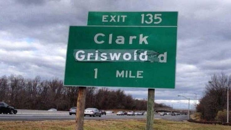 """Someone changed a sign at an exit on the Garden State Parkway for Clark Westfield to read """"Clark Griswold"""" on Thursday morning."""