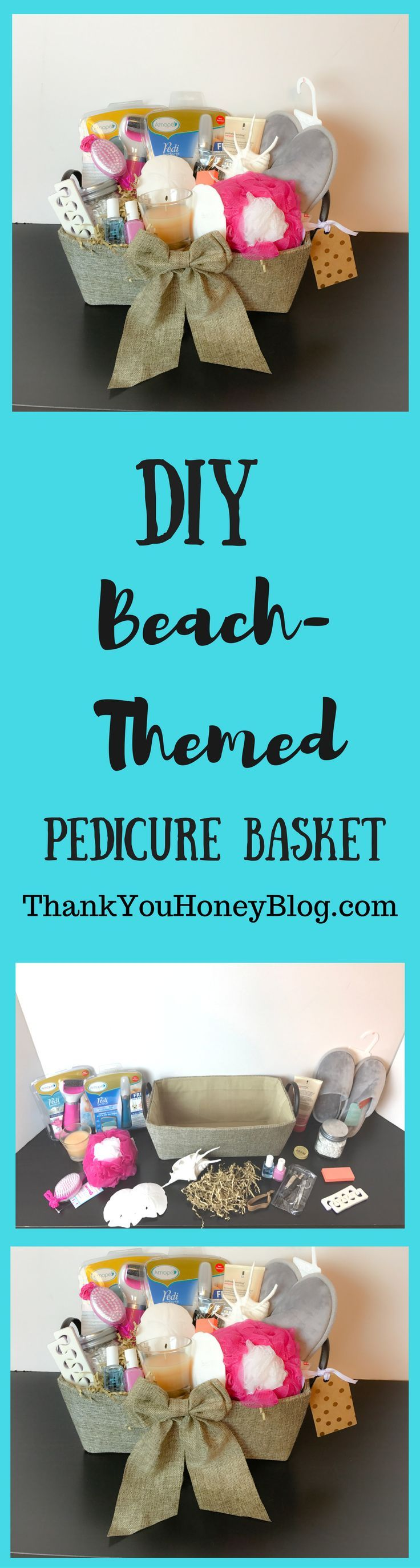 DIY Beach- Themed Pedicure Basket. Click through & PIN IT! Follow Us on Pinterest + Subscribe to ThankYouHoneyBlog.com. Holiday Gift Ideas, Holidays, DIY Beach- Themed Pedicure Basket, Gifts, DIY Gift Basket, DIY, Christmas, Pedicure, Beach, Gift Idea, Gifts, Holiday   #AmopeForTheHoliday {ad}