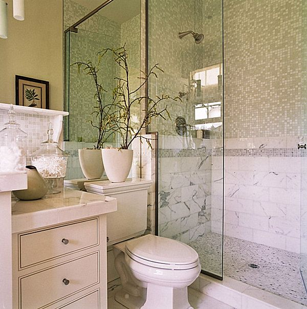 Lovely Small Bright Bathroom Ideas Part - 12: Small And Bright Bathroom Theme Ideas : Elegant Tile Wall Glass Accents  Decorate Small Bathroom Design