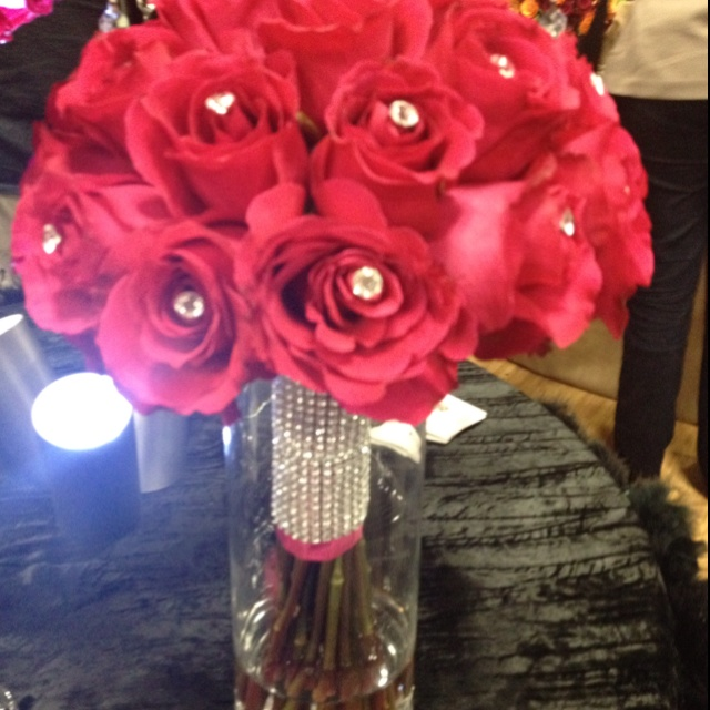 Love the bling. And the pink. Bridal bouquet