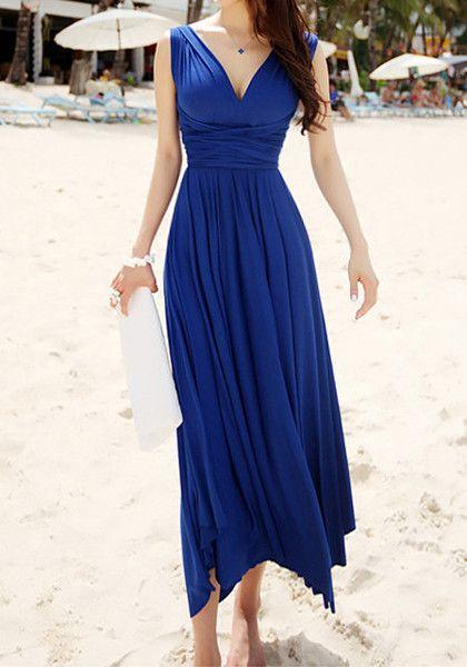 Blue Magic Maxi - V-Neck Maxi Dress