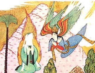 천사 가브리엘(오른쪽)무함마드에게 계시를 내리고 있다.