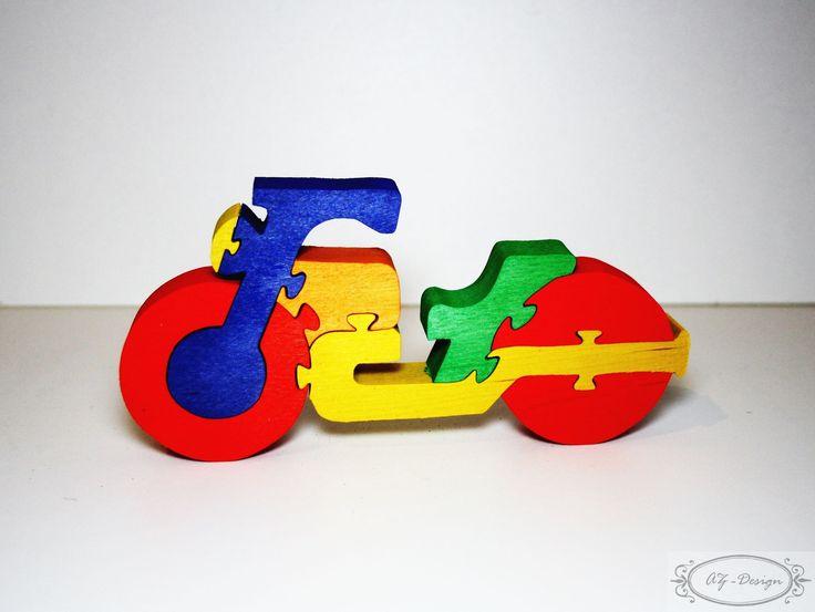 Puzzle en bois, moto, jouet enfant : Jeux, jouets par az-design