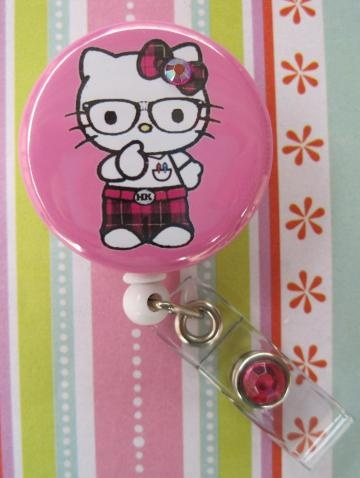 Hello Kitty Nerd Badge Holder ID reel 1.5 inch button by DreaminCrystal for $6.50