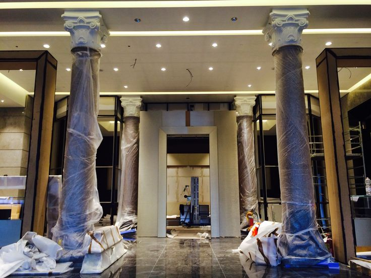 Our lobby is taking shape with luxurious black marble and bronze accents. #excelsiorgallia #theluxurycollection