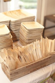 Eco friendly palm leaf plates and wooden cutlery.   Photo By Mandy Owens…