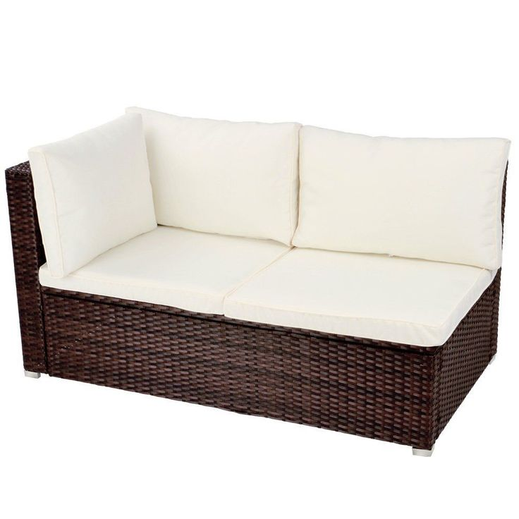 Rattan Brown Corner Sofa Cushion Backrest Garden Patio  Seat Chic Furniture Out #ebay #sofa #sale #summer #furniture