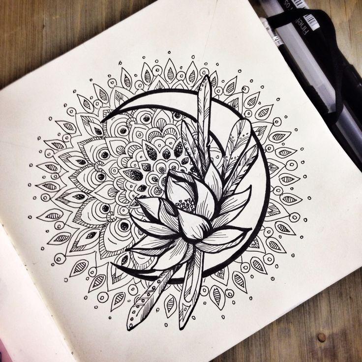 Idéia de tatuagem de lua de marinheiro. Em vez da flor, seria o cristal de prata um   – Ideen für zeichnen