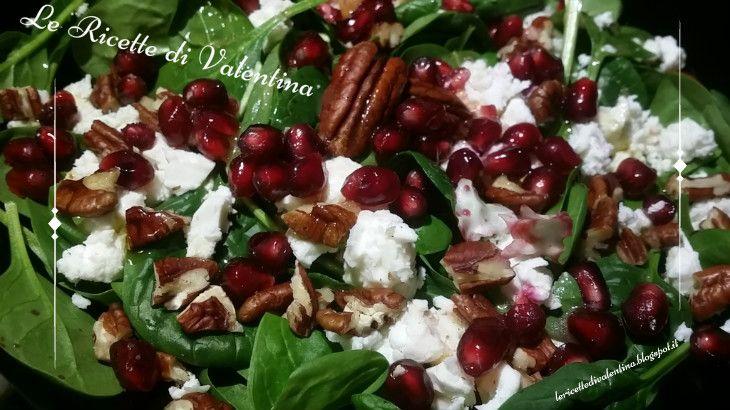 Le Ricette di Valentina: Insalata di spinacino, feta, noci pecan e melagrana