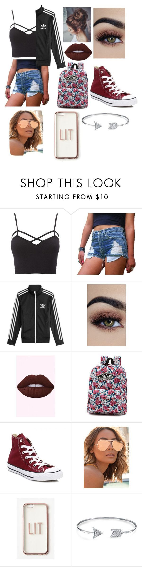 Untitled #15 by lemonitadr on Polyvore featuring Charlotte Russe, adidas, Converse, Vans, Bling Jewelry, Quay, Missguided and plus size clothing