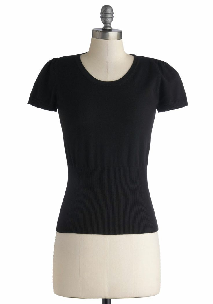 Croissants and Conversation Top. Begin your day with delicious croissants, cheerful conversation, and this black top from Kling - the perfect morning pick-me-up! #black #modcloth