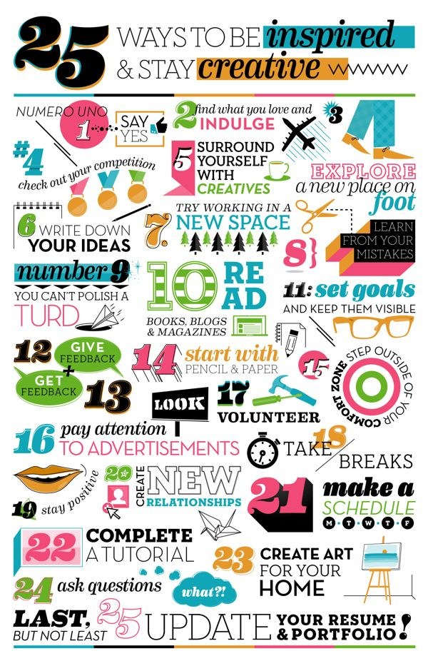 25 Ways To Be Inspired & Stay Creative