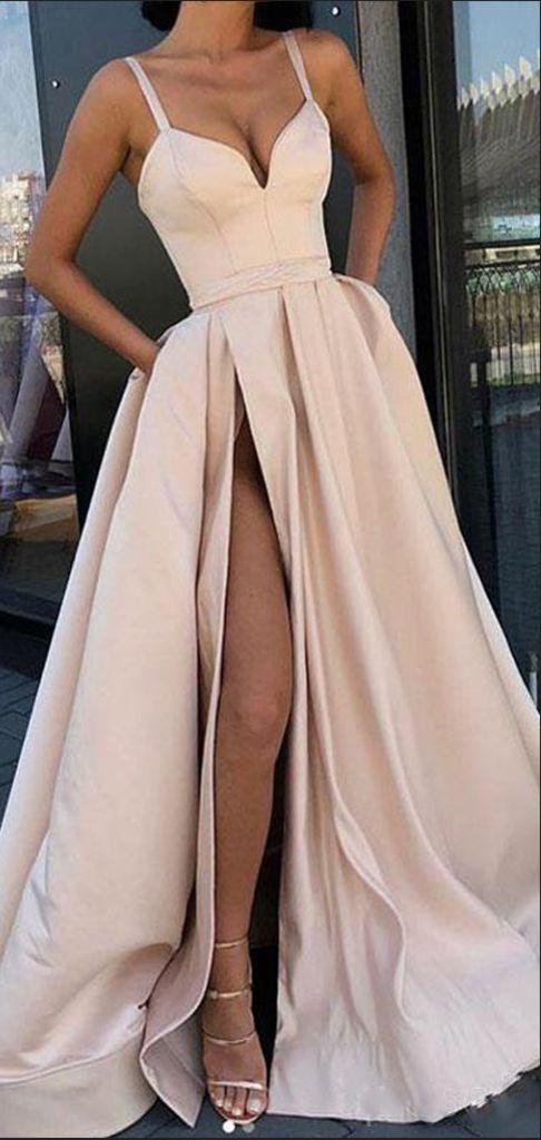 A-Line Side Slit Spaghetti Straps Satin Long Prom Dresses, VPPD614