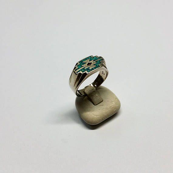 21 mm Ring 925 Silber Navajo-Indianer Herren Türkis Koralle