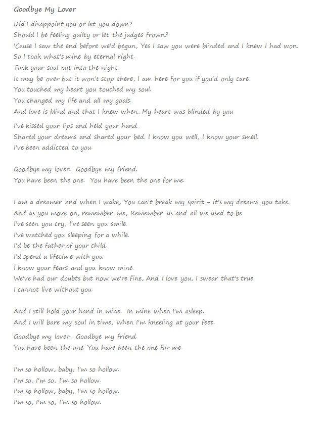 goodbay my lover lyrics: