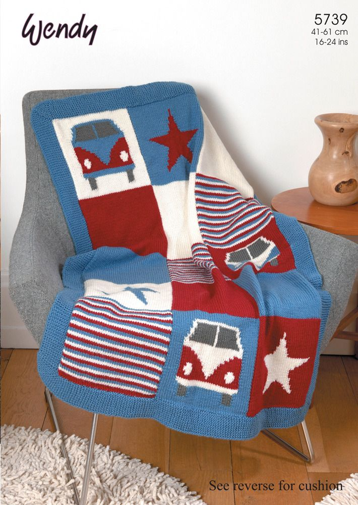 Knitting Patterns For Cushions And Throws : Campervan Blanket and Cushion in Wendy Mode DK - 5739 Knitting Patterns C...