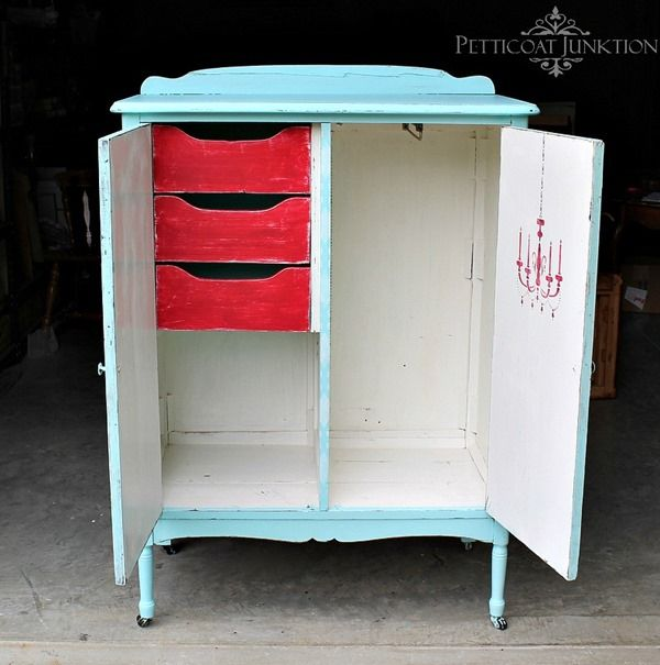 Transform furniture with paint and stencils.  If it is pretty, kids are more likely to keep their stuff stored & organized. Stenciled turquoise wardrobe