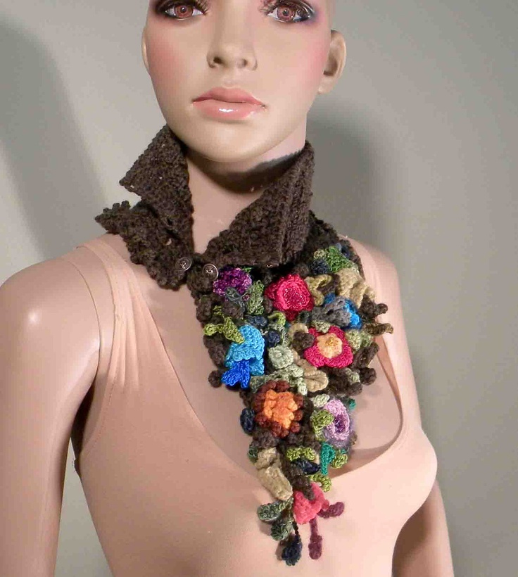 ROMANTIC SCARFLETTE/COLLAR - 2012 Collection, Wearable Art Fiber Jewelry, Freeform Crocheted & Hand Knitted Flowers. $85.00, via Etsy.