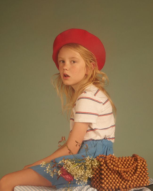 Série mode : Chloé, Milk magazine, girls fashion, stripes, kids editorial