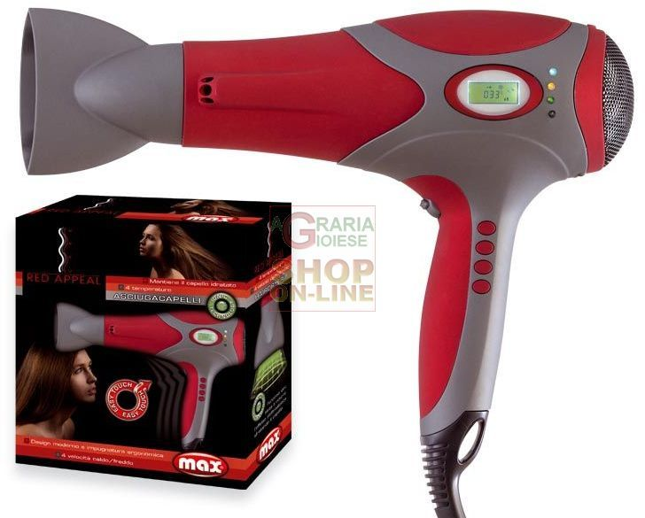MAX ASCIUGACAPELLI RED APPEAL DIG.ION 2000W https://www.chiaradecaria.it/it/max/10912-max-asciugacapelli-red-appeal-digion-2000w-8017365021825.html