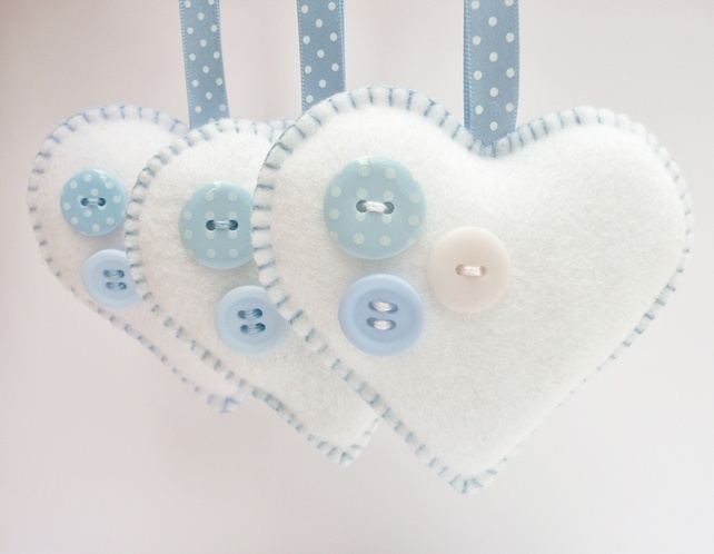 x3 Buttony Hearts Felt Christmas Decorations £10.00