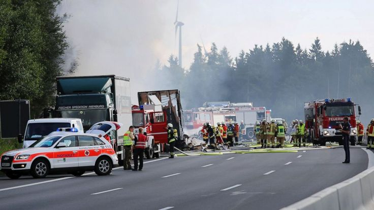 The Latest on bus-truck collision in Germany (all times local):  11:00  Police say a group of people from Saxony in eastern Germany was aboard the bus that went up in flames after it crashed into a truck on southern Germany.  Police say they fear a number of fatalities in the accident Monday... - #Aboard, #Crashe, #Germany, #Group, #Latest, #Police, #TopStories
