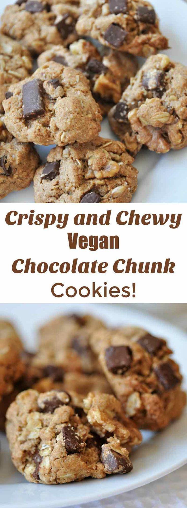 Vegan Chocolate Chunk Oatmeal Cookies | Recipe | Coconut oil chocolate ...