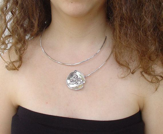 NECKLACE - handmade silver necklace PANSY FLOWER