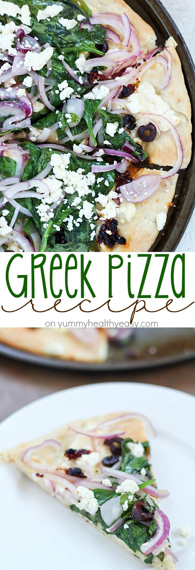 Easy Greek Pizza Recipe with a mayo & garlic spread and topped with feta, red onion, spinach, sun dried tomatoes and kalamata olives. Crazy delicious!